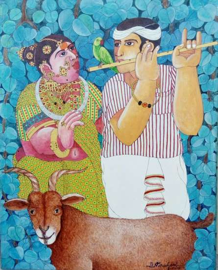 Figurative Acrylic Art Painting title 'Couple and Goat 3' by artist Bhawandla Narahari
