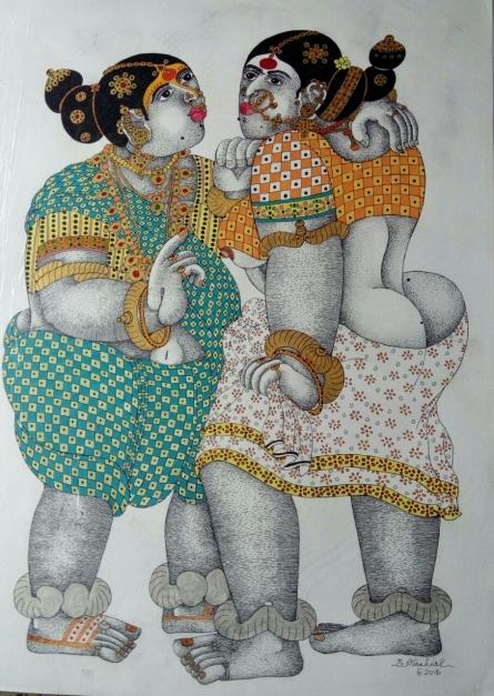 Figurative Acrylic Art Painting title Gossiping Women 1 by artist Bhawandla Narahari
