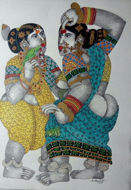 Figurative Pen-ink Art Drawing title 'Women with parrot 6' by artist Bhawandla Narahari