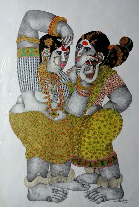 Figurative Acrylic Art Painting title Shringar 1 by artist Bhawandla Narahari