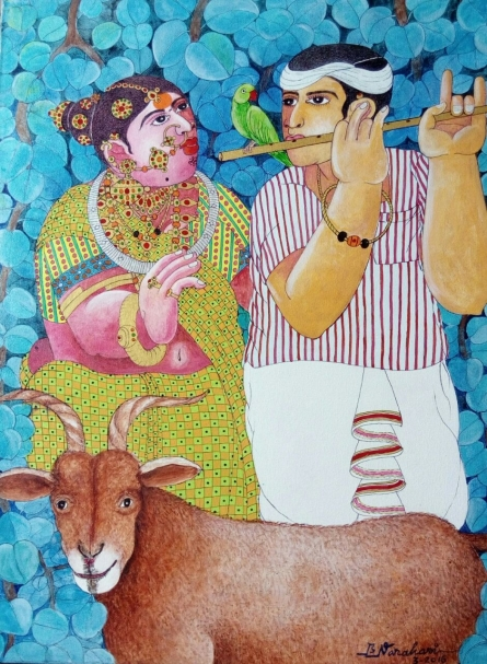 Couple and Goat 2 | Painting by artist Bhawandla Narahari | acrylic | Canvas