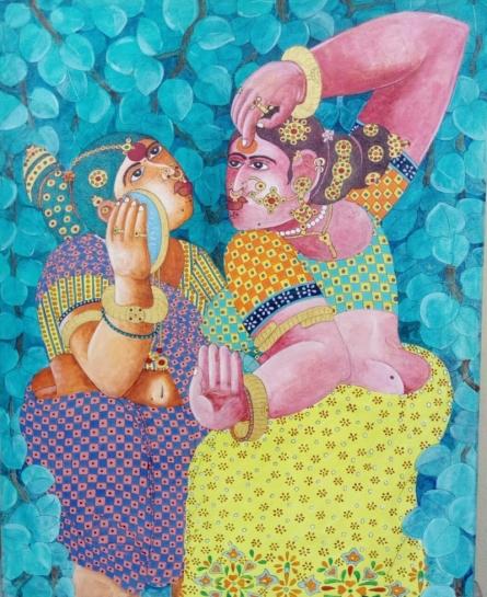 Figurative Acrylic Art Painting title Shringar 2 by artist Bhawandla Narahari