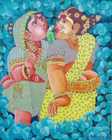 Women 3 | Painting by artist Bhawandla Narahari | acrylic | Canvas
