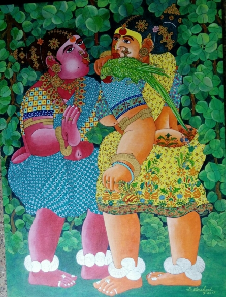 Figurative Acrylic Art Painting title 'Women and Parrot' by artist Bhawandla Narahari