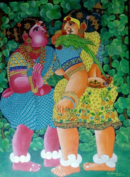 Figurative Acrylic Art Painting title 'Women with Parrot' by artist Bhawandla Narahari