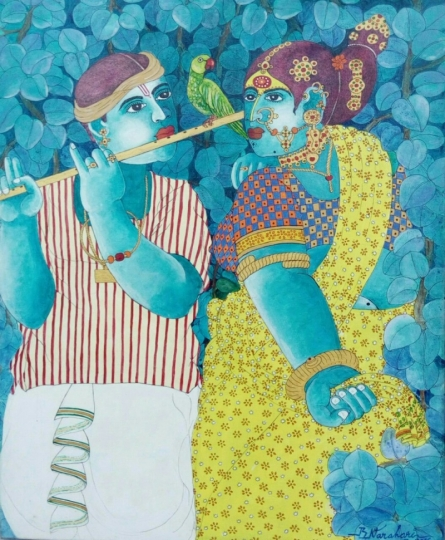 Couple and Parrot 1 | Painting by artist Bhawandla Narahari | acrylic | Canvas