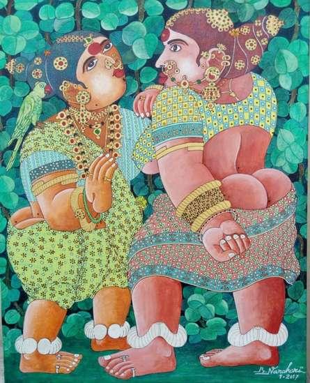 Women 2 | Painting by artist Bhawandla Narahari | acrylic | Canvas