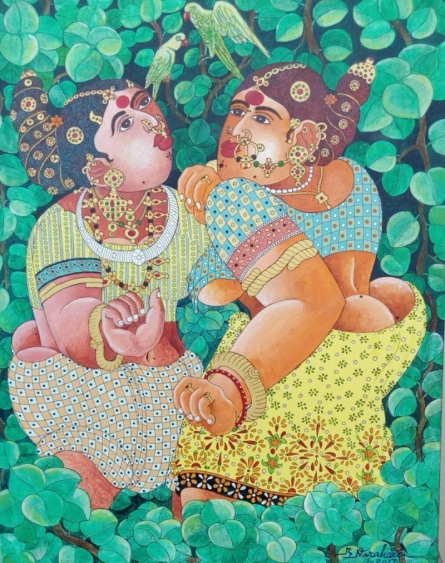 Figurative Acrylic Art Painting title 'Women 1' by artist Bhawandla Narahari