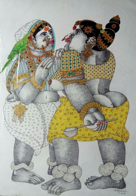 Figurative Pen-ink Art Drawing title 'Women with parrot 1' by artist Bhawandla Narahari