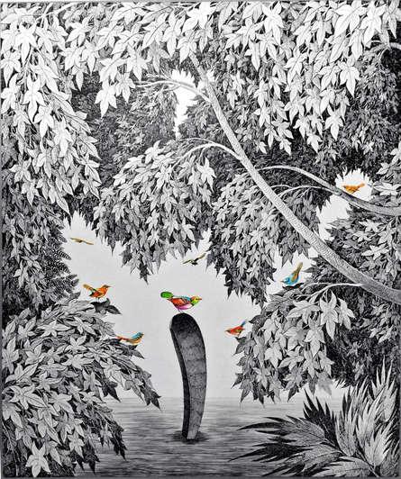 Animals Pen-ink Art Drawing title 'Birds 2' by artist Umakant Kanade