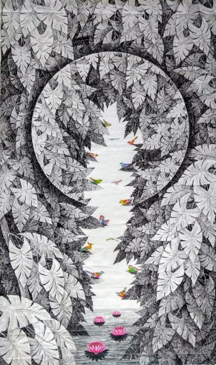 Animals Pen-ink Art Drawing title 'Birds 3' by artist Umakant Kanade