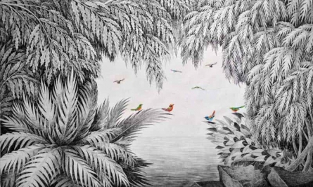 Nature Ink Art Drawing title 'Birds Under The Tree II' by artist Umakant Kanade