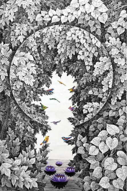Nature Pen-ink Art Drawing title 'Nature 101' by artist Umakant Kanade