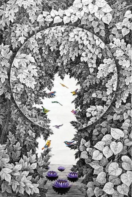 Nature Pen-ink Art Drawing title Nature 101 by artist Umakant Kanade
