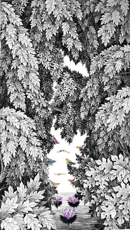 Nature Pen-ink Art Drawing title 'Nature 102' by artist Umakant Kanade