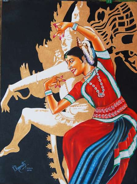 THE DIVINE DANCE OF ODISSI | Painting by artist RAGUNATH | oil | Canvas