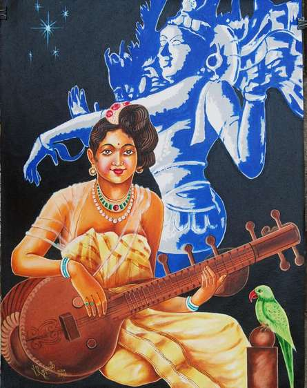 RAGUNATH | Oil Painting title DIVINE MUSIC on Canvas | Artist RAGUNATH Gallery | ArtZolo.com