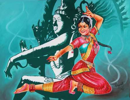 Expressionist Oil Art Painting title 'Bharatanatyam is a classical dance from' by artist RAGUNATH