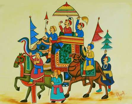 Fantasy Oil Art Painting title 'KING OF THE PROCESSION' by artist RAGUNATH