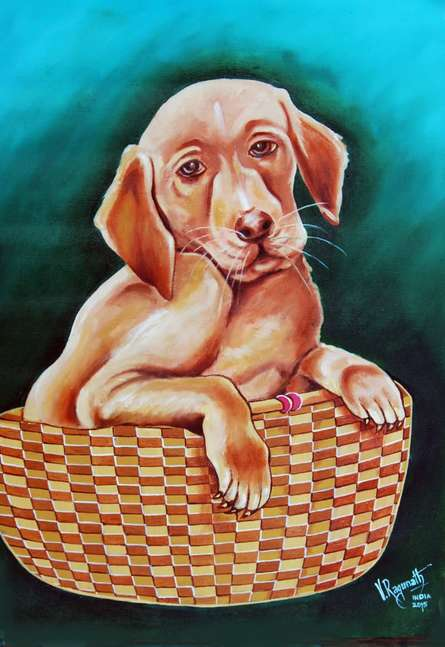 Animals Oil Art Painting title 'COMFORT' by artist RAGUNATH