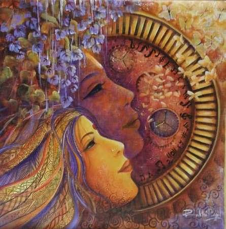 Religious Acrylic Art Painting title Divine Love Ii by artist Rakhi Baid