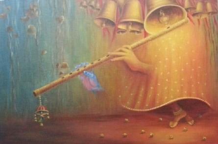 Religious Oil Art Painting title 'Divine Rhythm' by artist Rakhi Baid