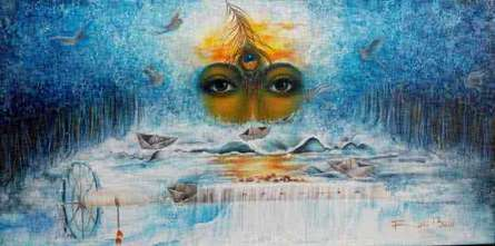 Religious Acrylic Art Painting title 'Anand sagar' by artist Rakhi Baid