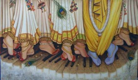 Rakhi Baid | Oil Painting title Krishna Leela on Canvas