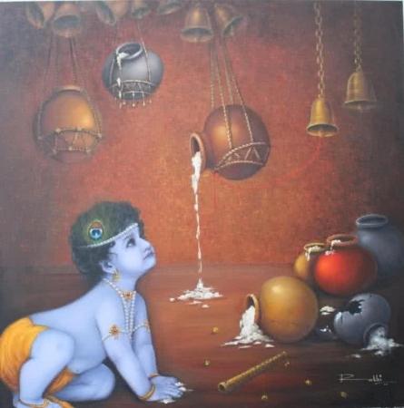 Rakhi Baid | Oil Painting title Makhan Chor on Canvas | Artist Rakhi Baid Gallery | ArtZolo.com
