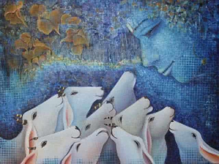 Religious Acrylic Art Painting title 'Nand Gopal' by artist Rakhi Baid