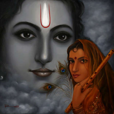 Religious Oil Art Painting title Radha Krishna by artist Rakhi Baid