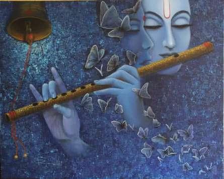 Religious Acrylic Art Painting title Radha Krishna I by artist Rakhi Baid