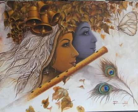 Religious Acrylic Art Painting title Radha Krishna II by artist Rakhi Baid