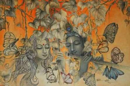 Religious Acrylic Art Painting title 'Radha Krishna III' by artist Rakhi Baid