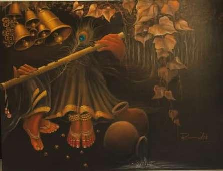 Religious Acrylic Art Painting title 'Radha With Krishna Flute I' by artist Rakhi Baid
