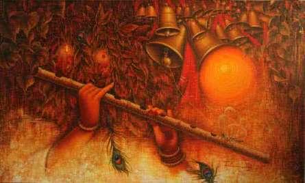Radha With Krishna Flute II | Painting by artist Rakhi Baid | acrylic | Canvas