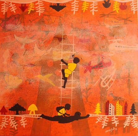 Figurative Acrylic Art Painting title Golden memories by artist Lakhan Singh Jat