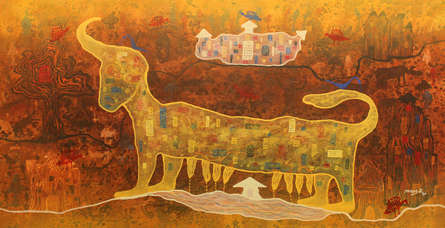 Abstract Acrylic Art Painting title 'From village to the virtual world' by artist Lakhan Singh Jat