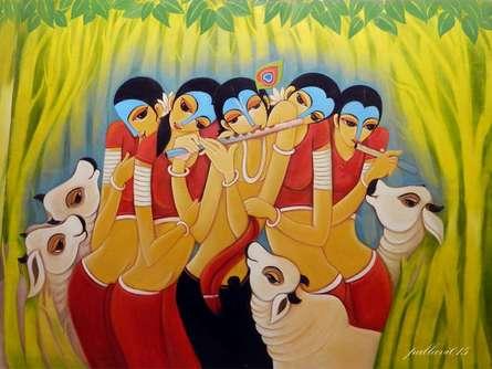 Figurative Oil Art Painting title Krishna Lila by artist Pallavi Walunj