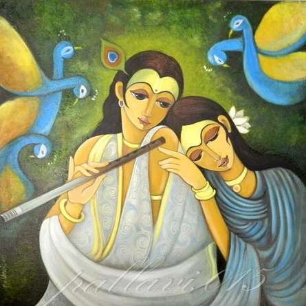 Figurative Oil Art Painting title 'Radha Krishna I' by artist Pallavi Walunj