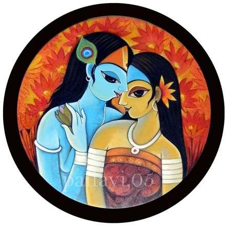 Figurative Oil Art Painting title Radha Krishna III by artist Pallavi Walunj