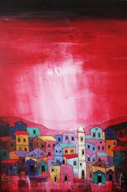 Suresh Gulage | Acrylic Painting title Village 2 on Canvas | Artist Suresh Gulage Gallery | ArtZolo.com