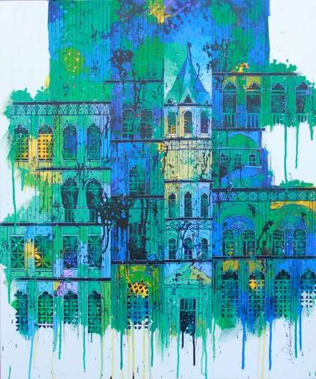 Cityscape Acrylic Art Painting title 'Green Blue City with Reflection' by artist Suresh Gulage