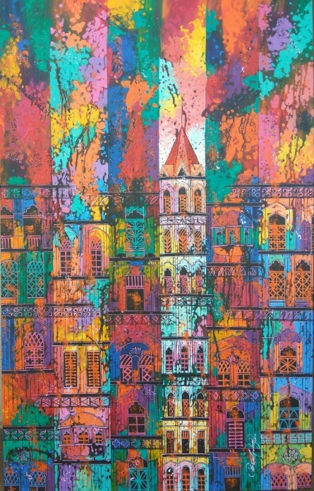 Cityscape Acrylic Art Painting title 'City 9' by artist Suresh Gulage