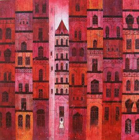 Cityscape Acrylic Art Painting title Red City by artist Suresh Gulage