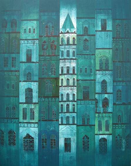 Green City | Painting by artist Suresh Gulage | acrylic | Canvas