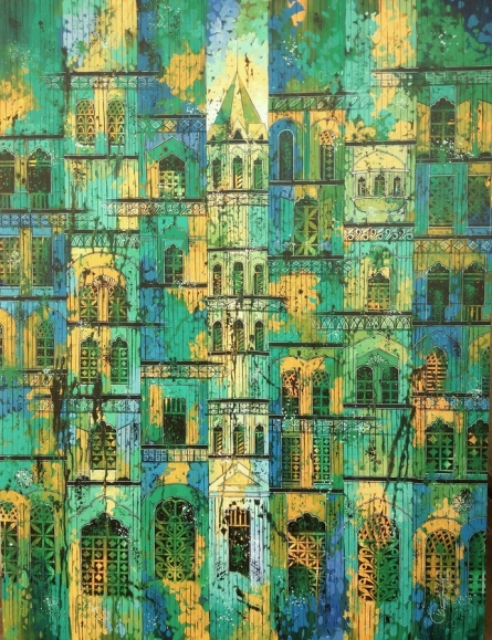 Cityscape Acrylic Art Painting title 'Green Yellow City' by artist Suresh Gulage