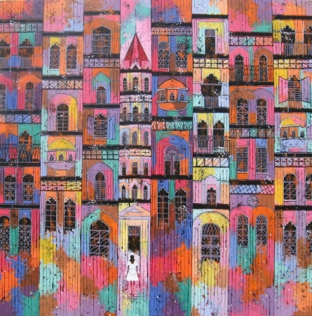 City 18 | Painting by artist Suresh Gulage | acrylic | Canvas