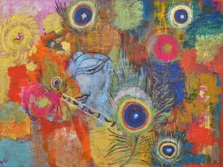 Dipti Pandit | Krishna's Colors Mixed media by artist Dipti Pandit on Canvas Board | ArtZolo.com