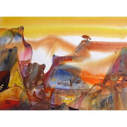 Sunil Kale | Watercolor Painting title Mindcsape 34 on Paper | Artist Sunil Kale Gallery | ArtZolo.com